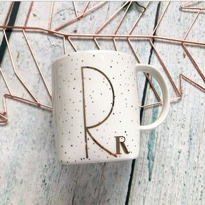 3/$25 anthro monogram R mug gold polkadot ceramic